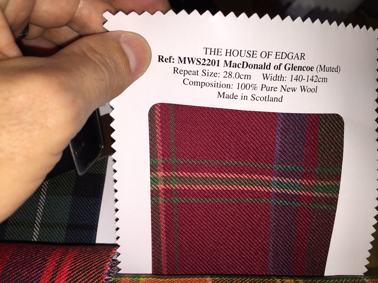 Scottish tartan for the Clan MacDonald of Glencoe
