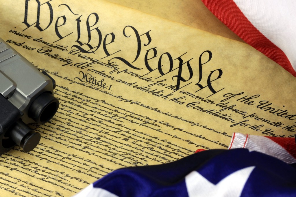 Gun on US Constitution - Right To Keep and Bear Arms